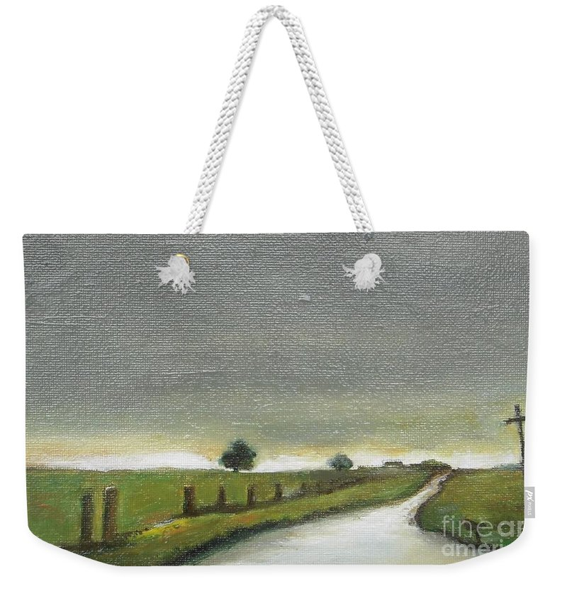 Landscape Weekender Tote Bag featuring the painting Village Road In The Twilight by Vesna Antic