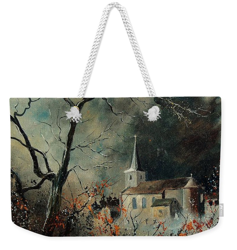 Tree Weekender Tote Bag featuring the painting Village Vivy by Pol Ledent