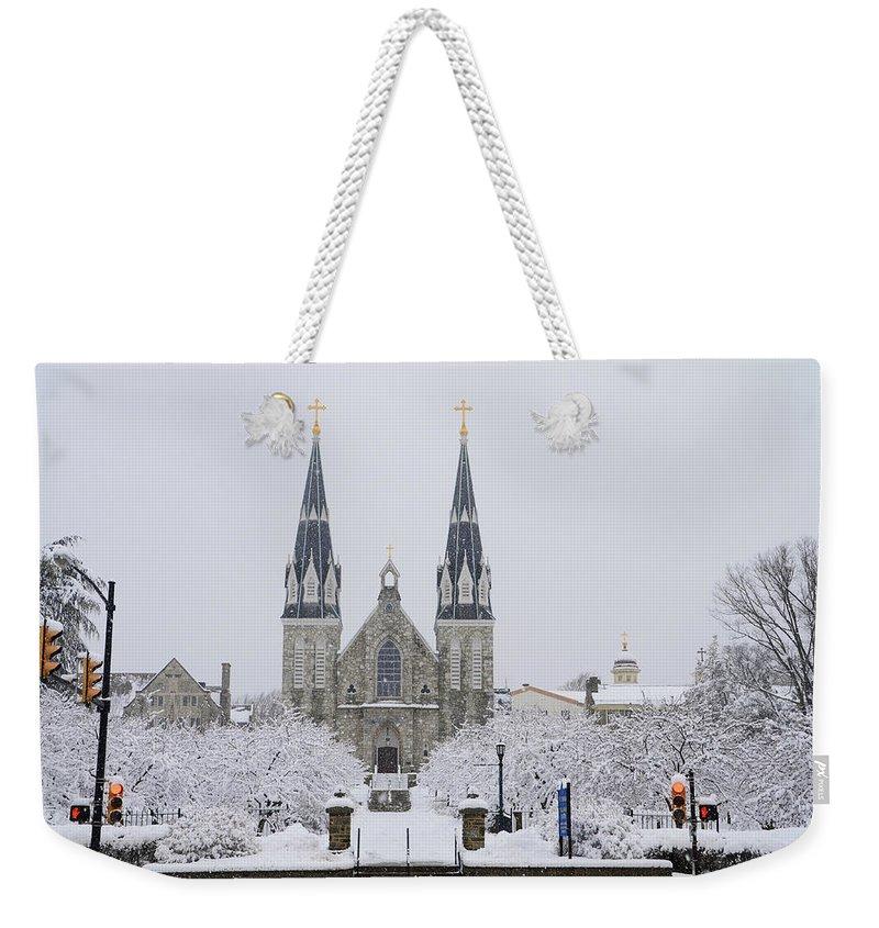 Villanova Weekender Tote Bag featuring the photograph Villanova Snow by Bill Cannon