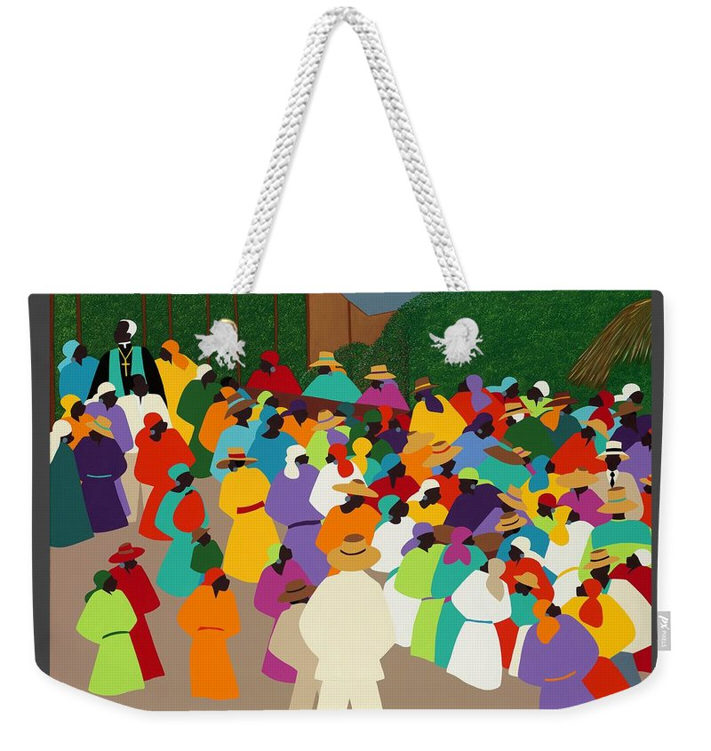 Synthia Saint James Weekender Tote Bag featuring the painting Ville Bonheur by Synthia SAINT JAMES
