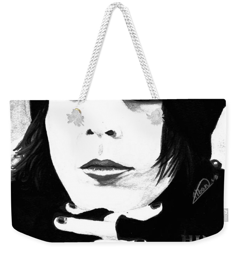 Ville Valo Weekender Tote Bag featuring the painting Ville Valo Portrait by Alban Dizdari