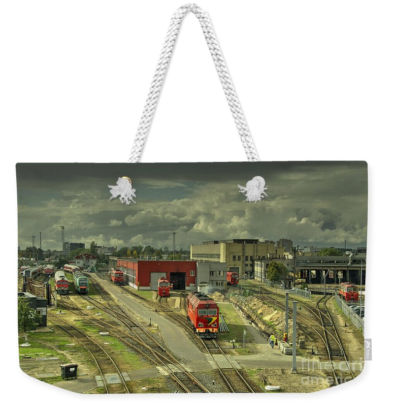 Vilnius Weekender Tote Bag featuring the photograph Vilnius Depot by Rob Hawkins