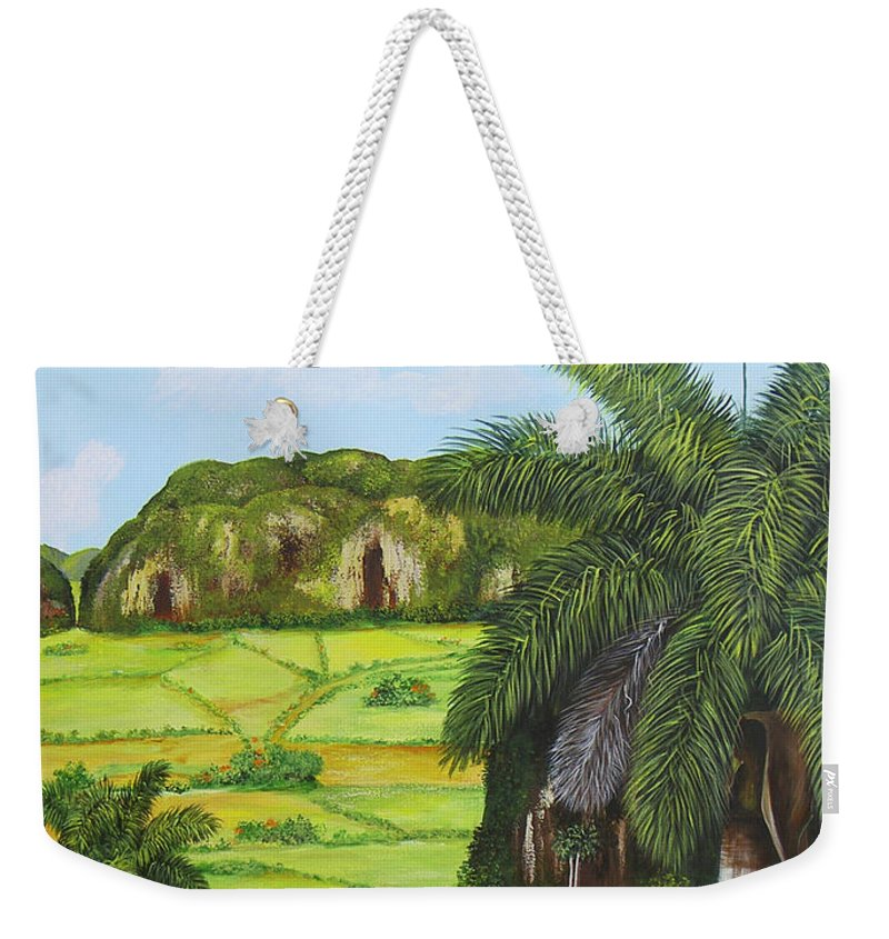 Cuban Landscape Weekender Tote Bag featuring the painting Vinales Valley by Dominica Alcantara