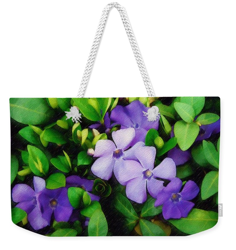Vinca Weekender Tote Bag featuring the photograph Vinca by Sandy MacGowan