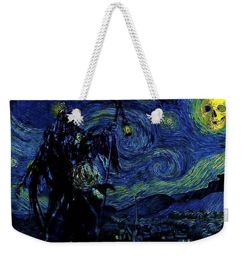 Vincent Van Ghost Xxv Weekender Tote Bag featuring the drawing Vincent Van Ghost Xxv by Jose A Gonzalez Jr