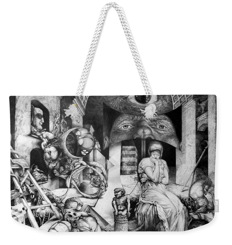 Surrealism Weekender Tote Bag featuring the drawing Vindobona Altarpiece IIi - Snakes And Ladders by Otto Rapp