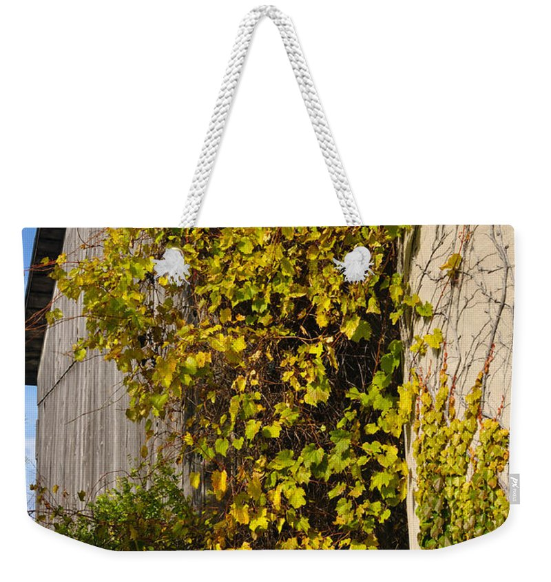 Silo Weekender Tote Bag featuring the photograph Vined Silo by Tim Nyberg
