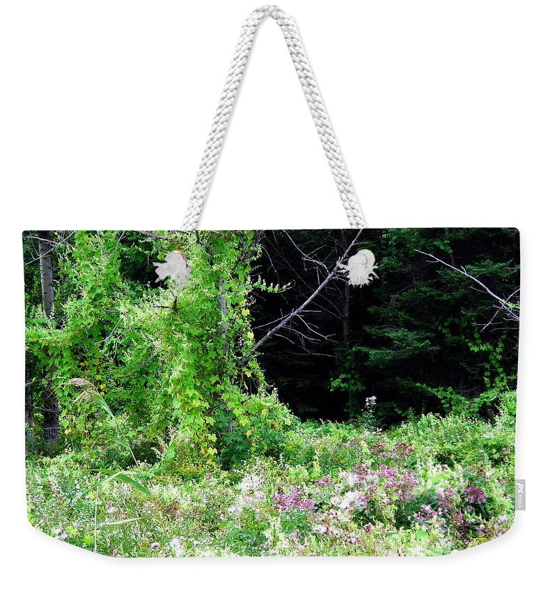 Vines Growth Near Pine Falls Manitoba Weekender Tote Bag featuring the photograph Vines by Joanne Smoley