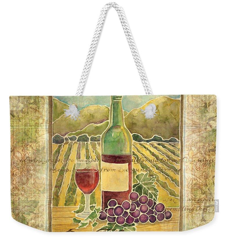 Wine Weekender Tote Bag featuring the painting Vineyard Pinot Noir Grapes N Wine - Batik Style by Audrey Jeanne Roberts