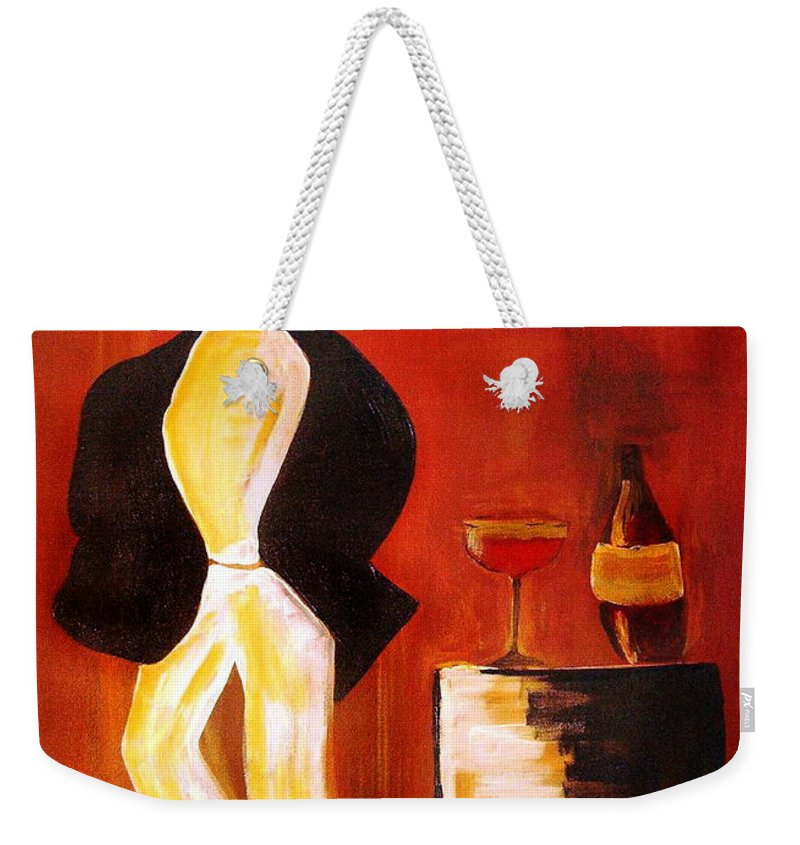 Italian Weekender Tote Bag featuring the mixed media Vinorosso by Helmut Rottler