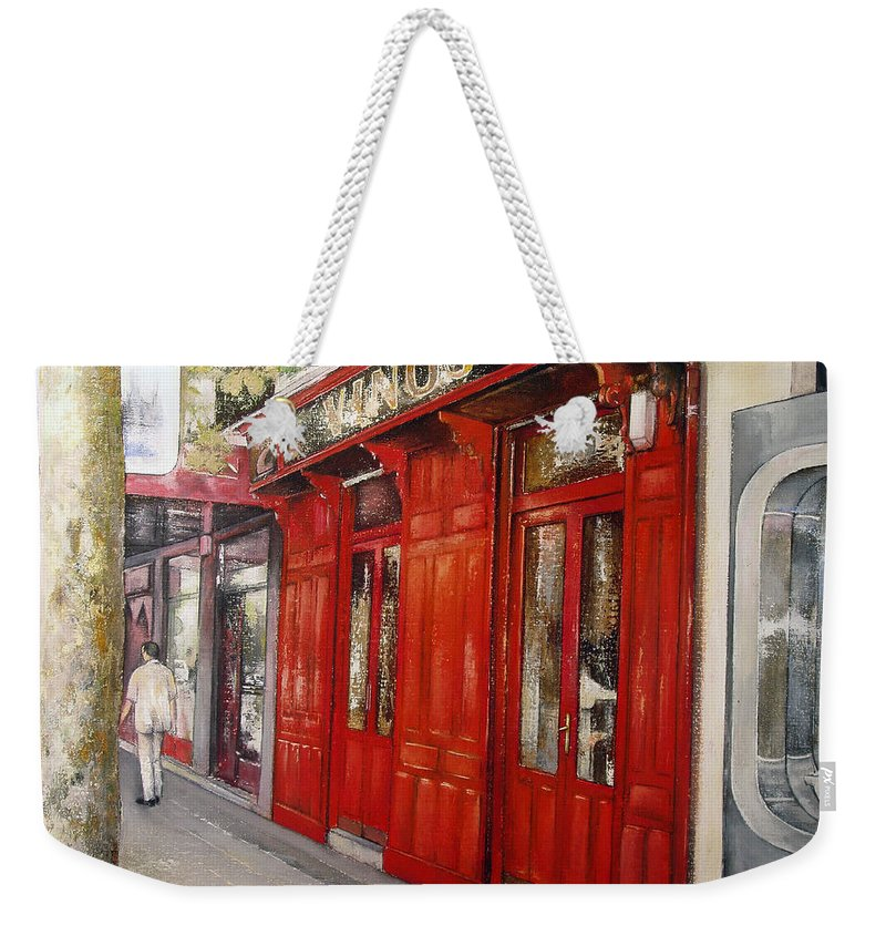 Urban Weekender Tote Bag featuring the painting Vinos Sagasta by Tomas Castano