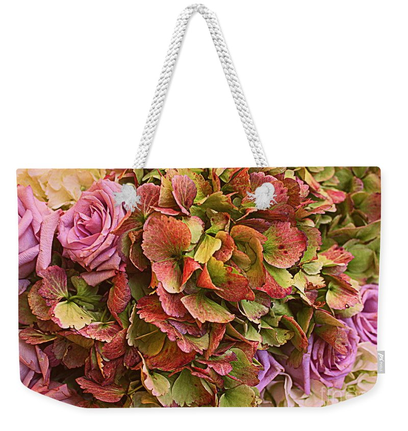 Flowers Weekender Tote Bag featuring the photograph Vintage Autumn Bouquet by Dora Sofia Caputo Photographic Design and Fine Art