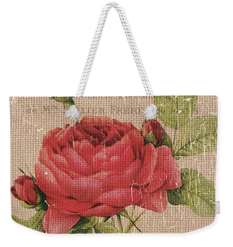 Floral Weekender Tote Bag featuring the painting Vintage Burlap Floral by Debbie DeWitt