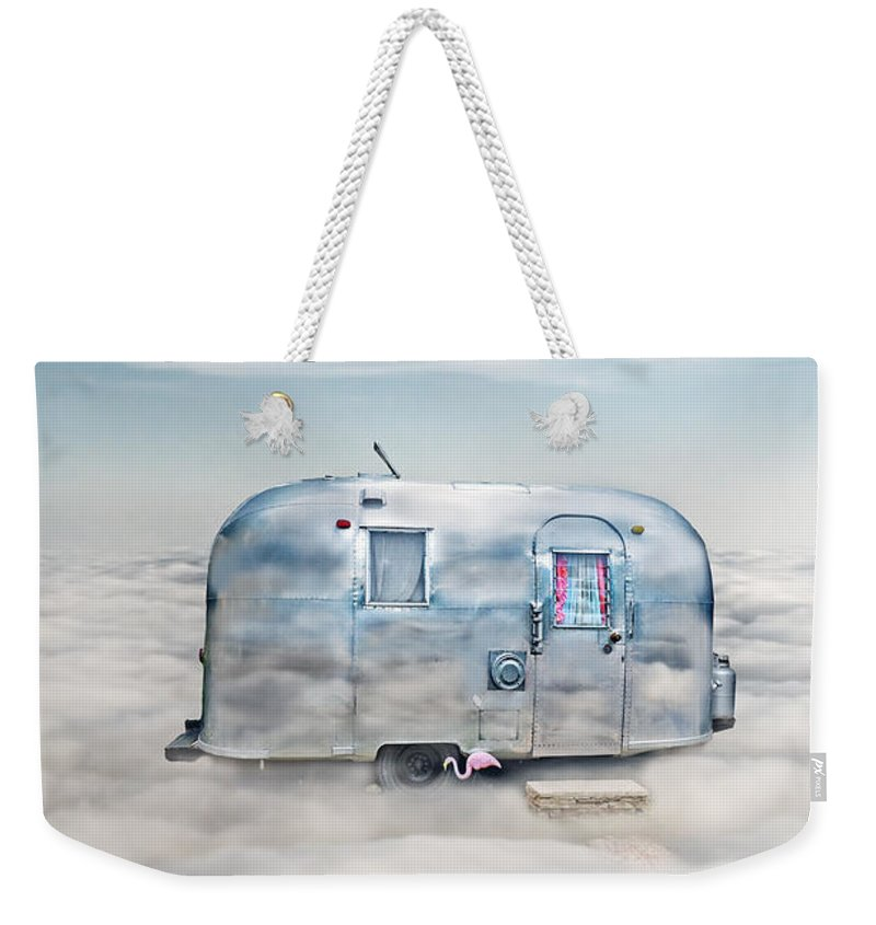 Trailer Weekender Tote Bag featuring the photograph Vintage Camping Trailer In The Clouds by Jill Battaglia