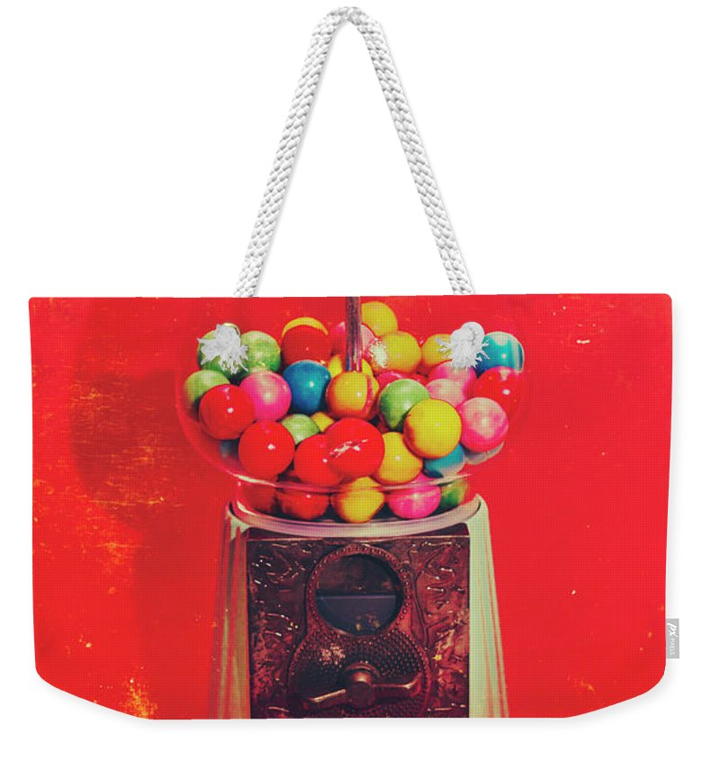 Retro Weekender Tote Bag featuring the photograph Vintage Candy Store Gum Ball Machine by Jorgo Photography - Wall Art Gallery