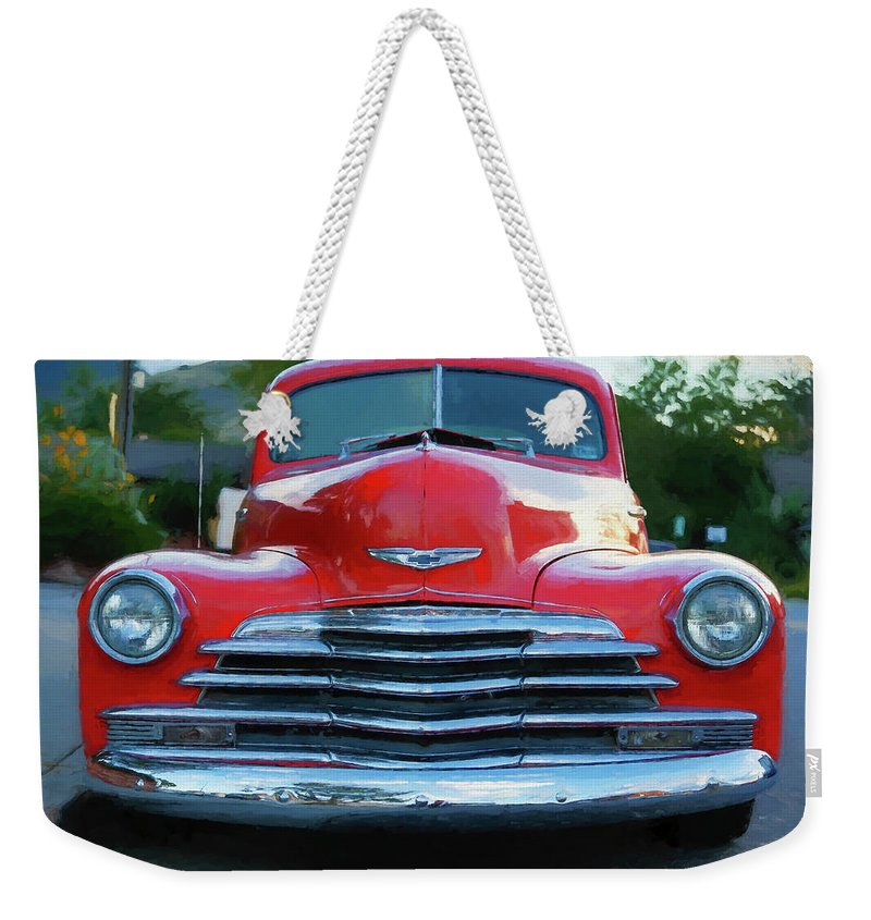 Chevrolet Weekender Tote Bag featuring the photograph Vintage Chevy Pickup Truck by Edward Moorhead