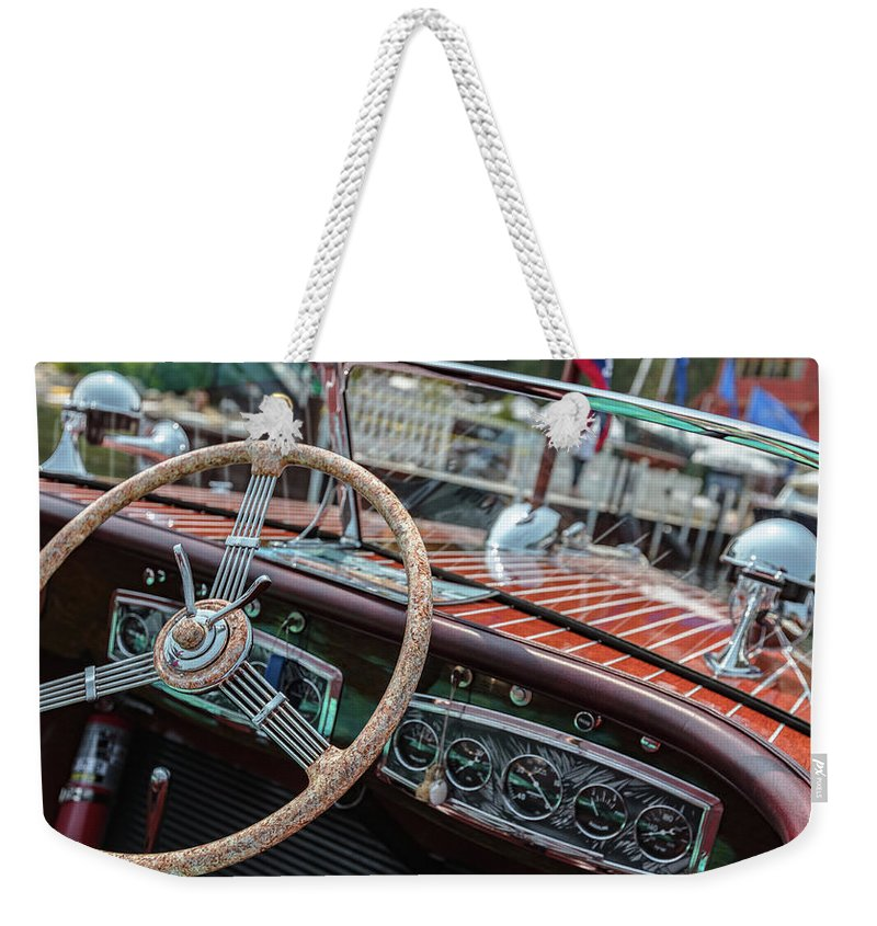 H2omark Weekender Tote Bag featuring the photograph Vintage Chris Craft by Steven Lapkin