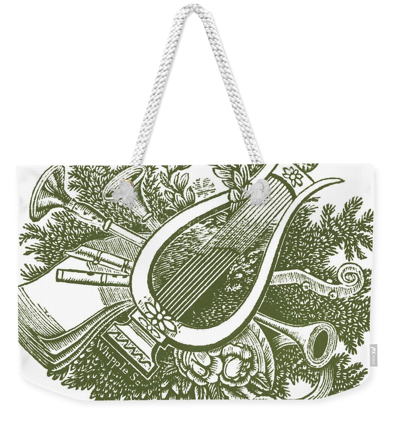 Vintage Christmas Poster Musical Instruments Weekender Tote Bag featuring the painting vintage Christmas poster musical instruments by R Muirhead Art