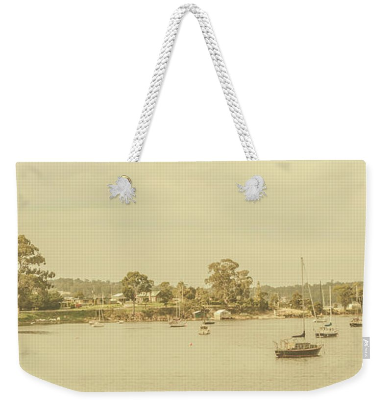 Nautical Weekender Tote Bag featuring the photograph Vintage Dover Harbour Tasmania by Jorgo Photography - Wall Art Gallery