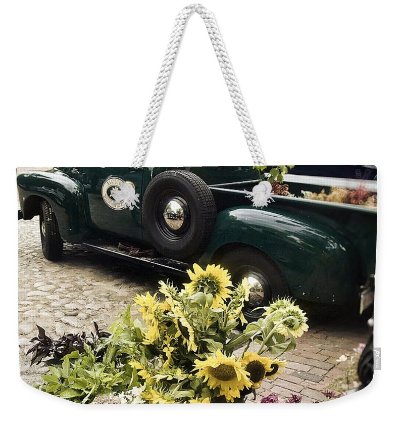 Nantucket Weekender Tote Bag featuring the photograph Vintage Flower Truck-nantucket by Tammy Wetzel