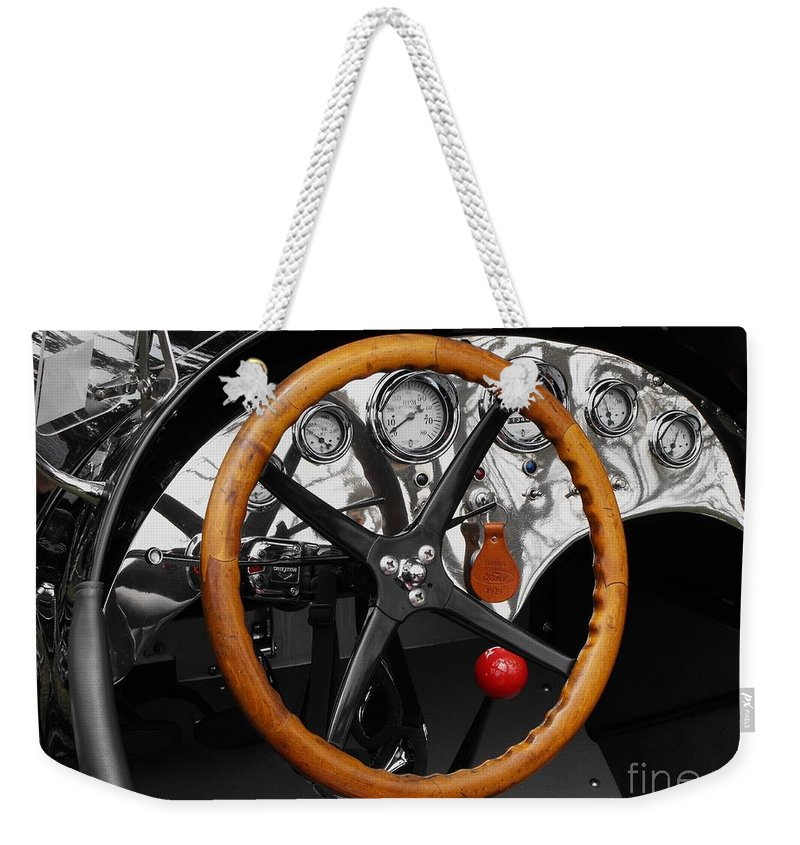 Ford Race Car Weekender Tote Bag featuring the photograph Vintage Ford Racer Dashboard by Neil Zimmerman