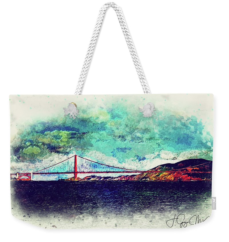 Bridge Weekender Tote Bag featuring the digital art Vintage Golden Gate by Jo-Anne Gazo-McKim