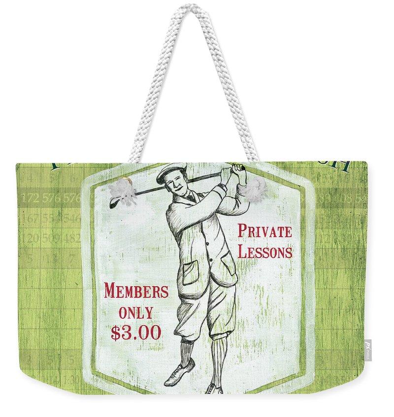 Golf Weekender Tote Bag featuring the painting Vintage Golf Green 1 by Debbie DeWitt
