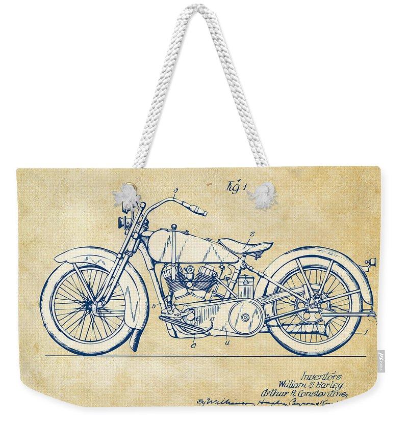 Harley-davidson Weekender Tote Bag featuring the digital art Vintage Harley-davidson Motorcycle 1928 Patent Artwork by Nikki Smith