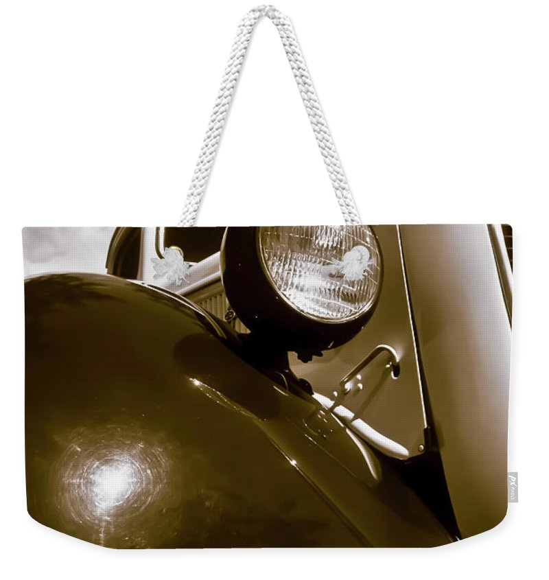 1937 Ford Weekender Tote Bag featuring the photograph 1937 Ford Pickup Truck Maui Hawaii by Jim Cazel