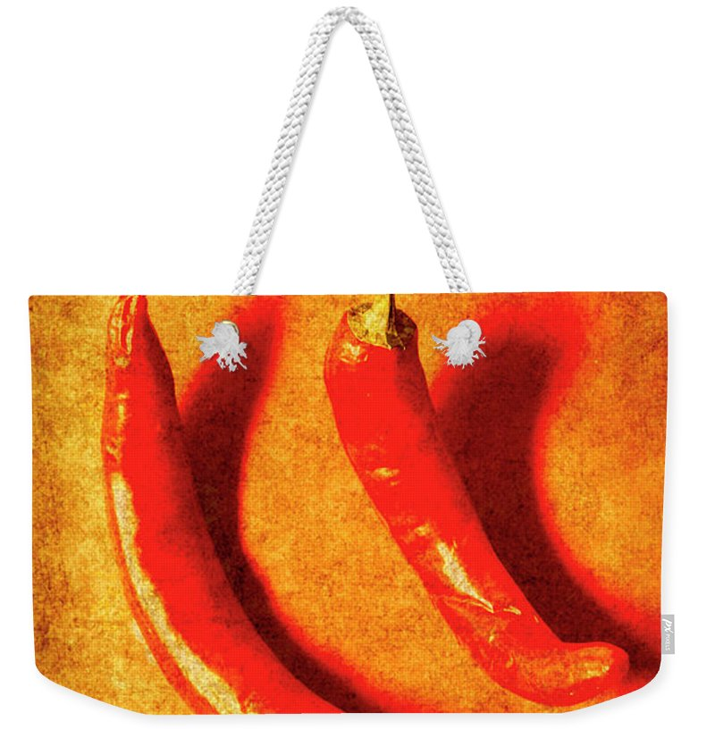 Spice Weekender Tote Bag featuring the photograph Vintage Hot Curry Peppers by Jorgo Photography - Wall Art Gallery