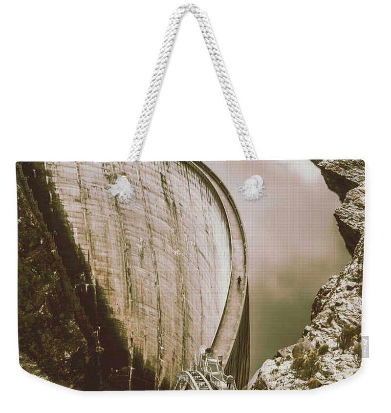 Architecture Weekender Tote Bag featuring the photograph Vintage Hydro-electric Dam by Jorgo Photography - Wall Art Gallery