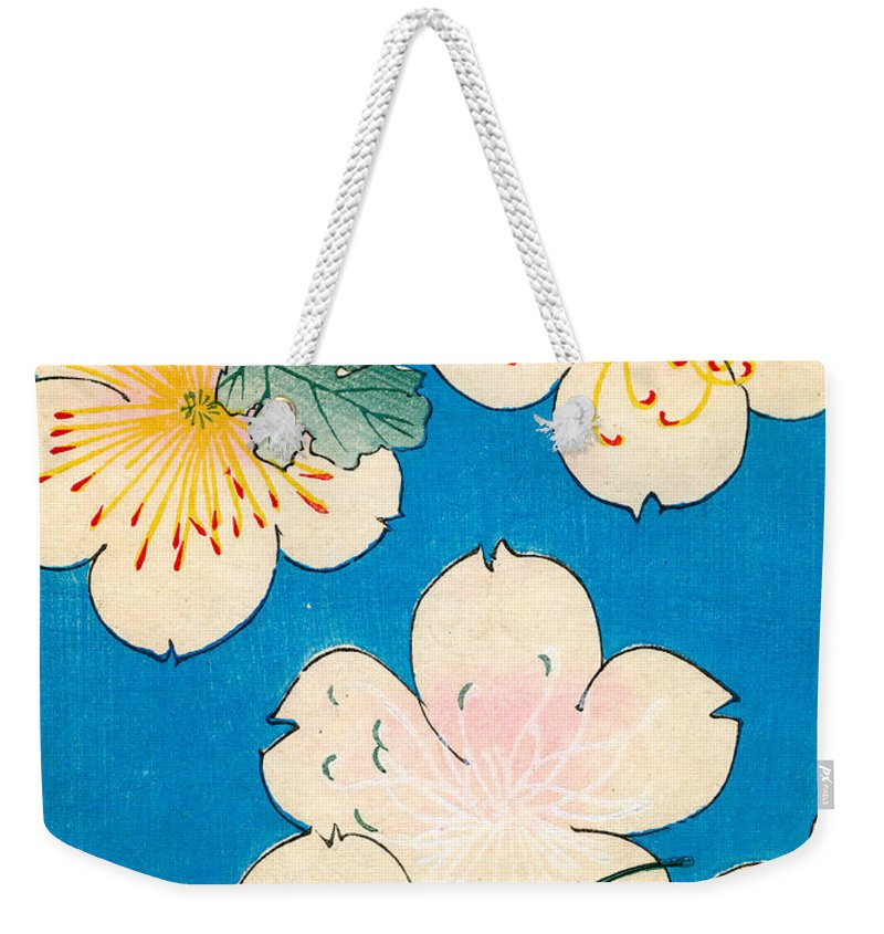 Flower Weekender Tote Bag featuring the painting Vintage Japanese Illustration Of Dogwood Blossoms by Japanese School