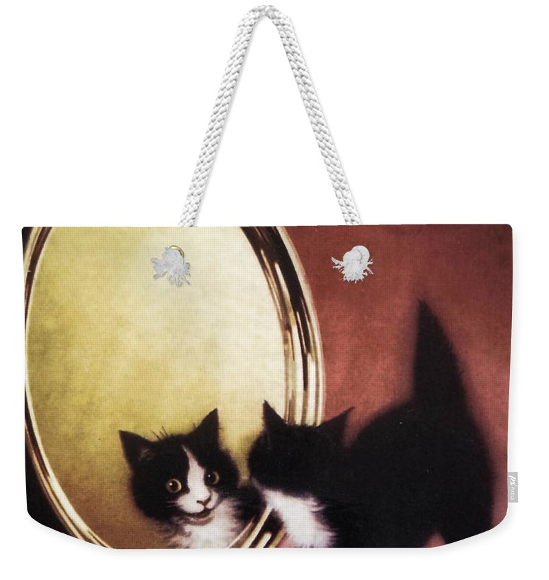 Kitten Weekender Tote Bag featuring the painting Vintage Kitty Cat by Mindy Sommers