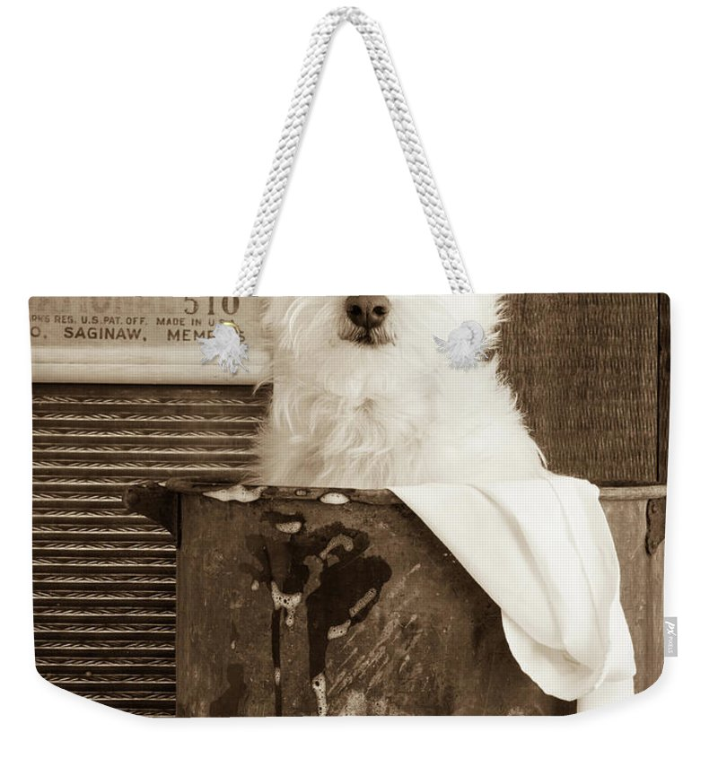 Westie Weekender Tote Bag featuring the photograph Vintage Laundry by Edward Fielding