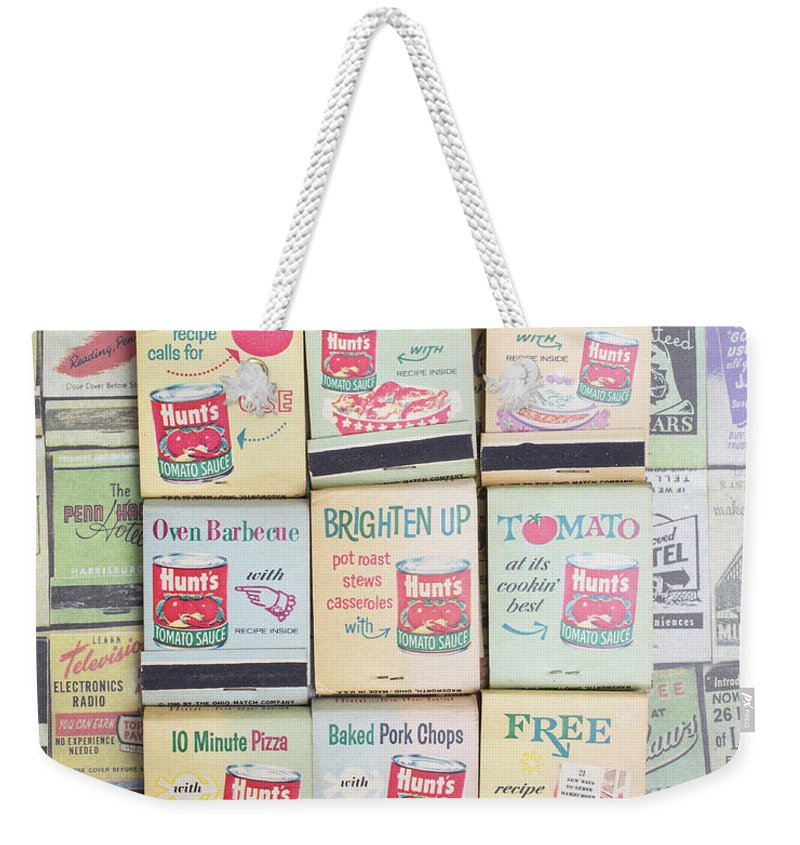 Still Life Weekender Tote Bag featuring the photograph Vintage Matchbooks by Edward Fielding