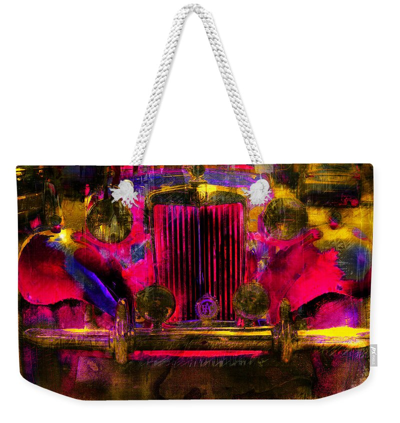 Vintage Weekender Tote Bag featuring the digital art Vintage Mg by Ronald Bolokofsky