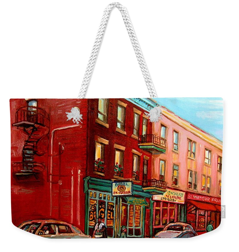 St Viateur Bagel Shop Montreal Street Scenes Weekender Tote Bag featuring the painting Vintage Montreal by Carole Spandau