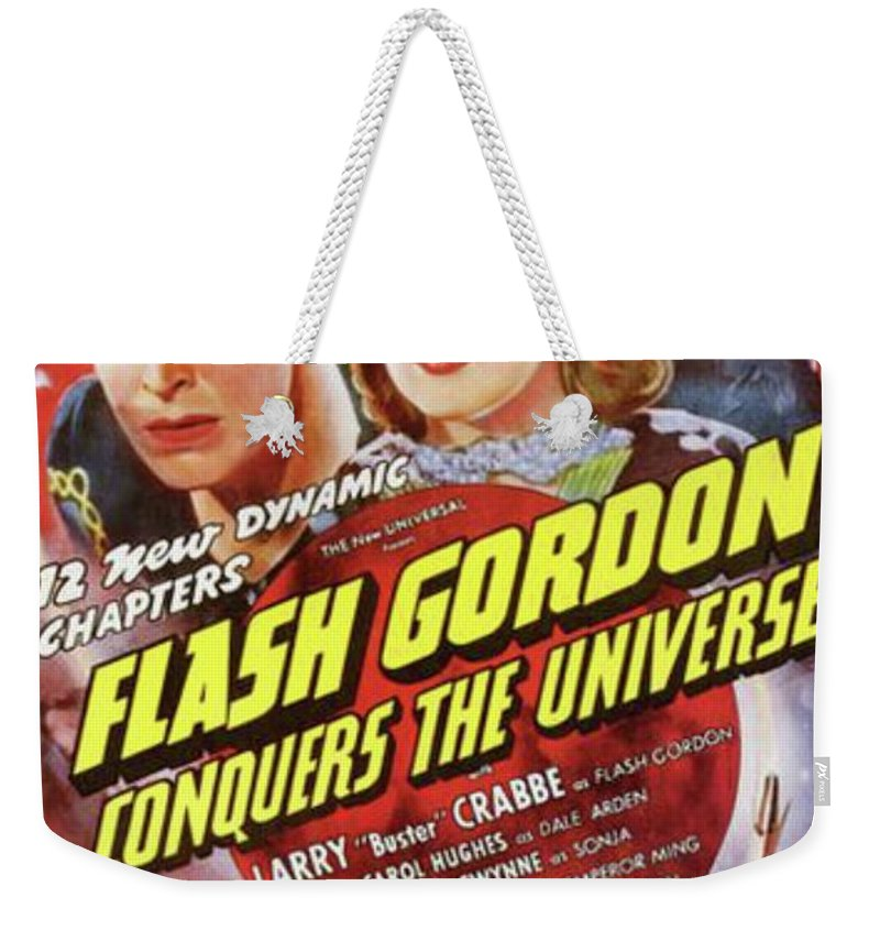 Flash Weekender Tote Bag featuring the painting Vintage Movie Posters, Flash Godon Conquers The Universe by Esoterica Art Agency