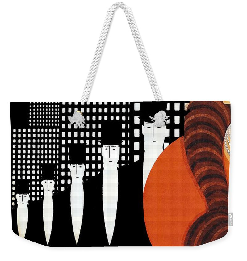 Vintage New York Weekender Tote Bag featuring the painting Vintage New York Glamour Art Deco by Mindy Sommers