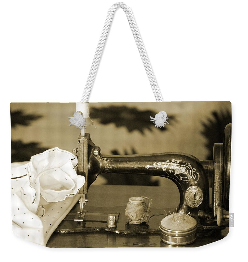 Sepia Tones Weekender Tote Bag featuring the photograph Vintage Notions In Sepia Tones by Colleen Cornelius