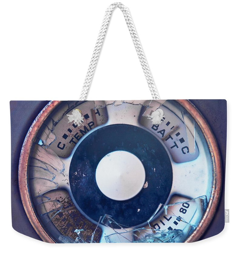 Broken Weekender Tote Bag featuring the photograph Vintage Oil Indicator by Priska Wettstein