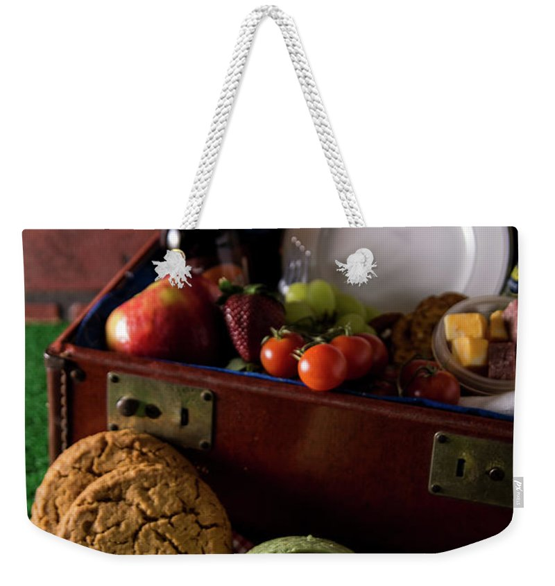 Nobody Weekender Tote Bag featuring the photograph Vintage Picnic With A Splash Of Color by Deborah Klubertanz