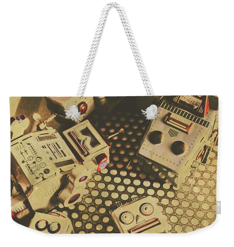 Comic Weekender Tote Bag featuring the photograph Vintage Robot Charging Zone by Jorgo Photography - Wall Art Gallery