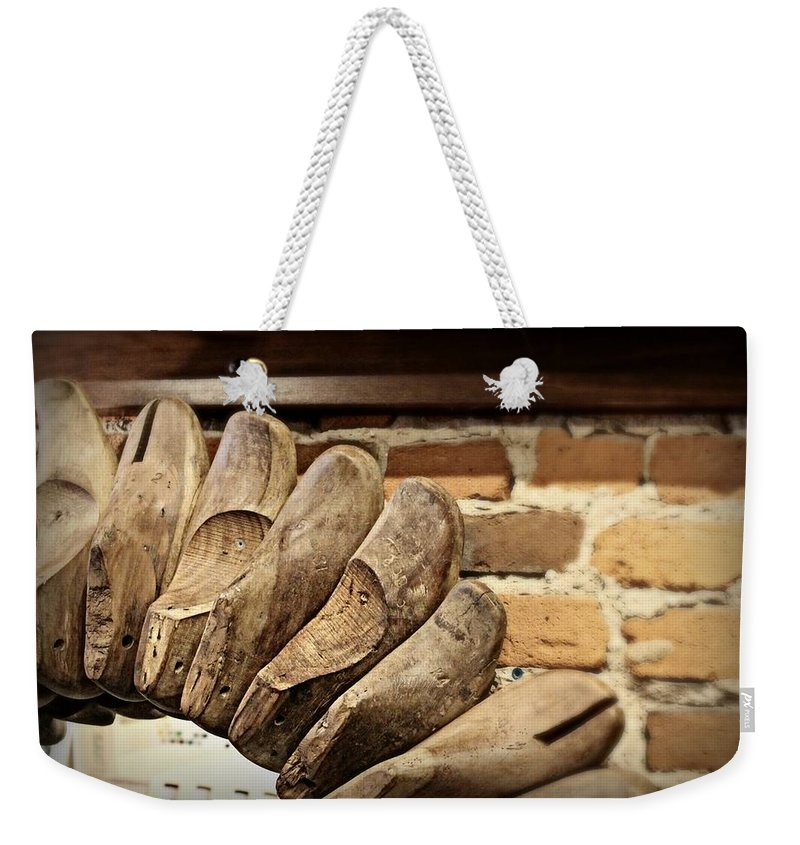 Vintage Weekender Tote Bag featuring the photograph Vintage Shoe Forms by Mary Pille