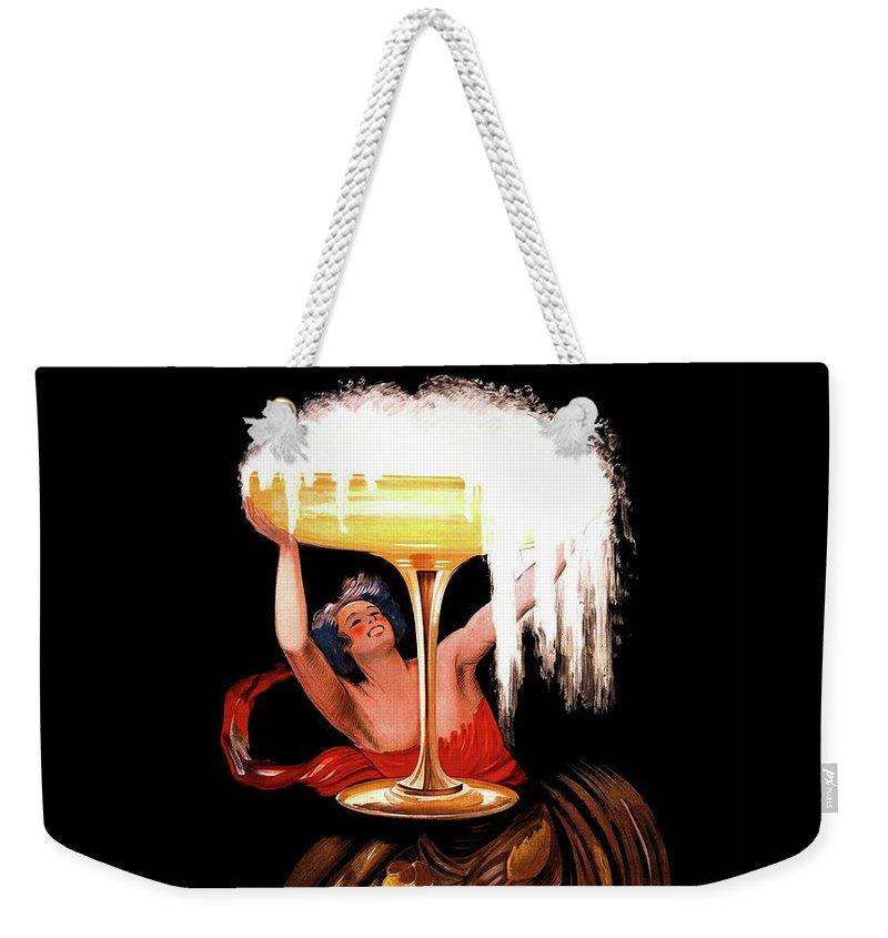 Bubbly Weekender Tote Bag featuring the painting Vintage Sparkling Wine Advertisement by Tina Lavoie
