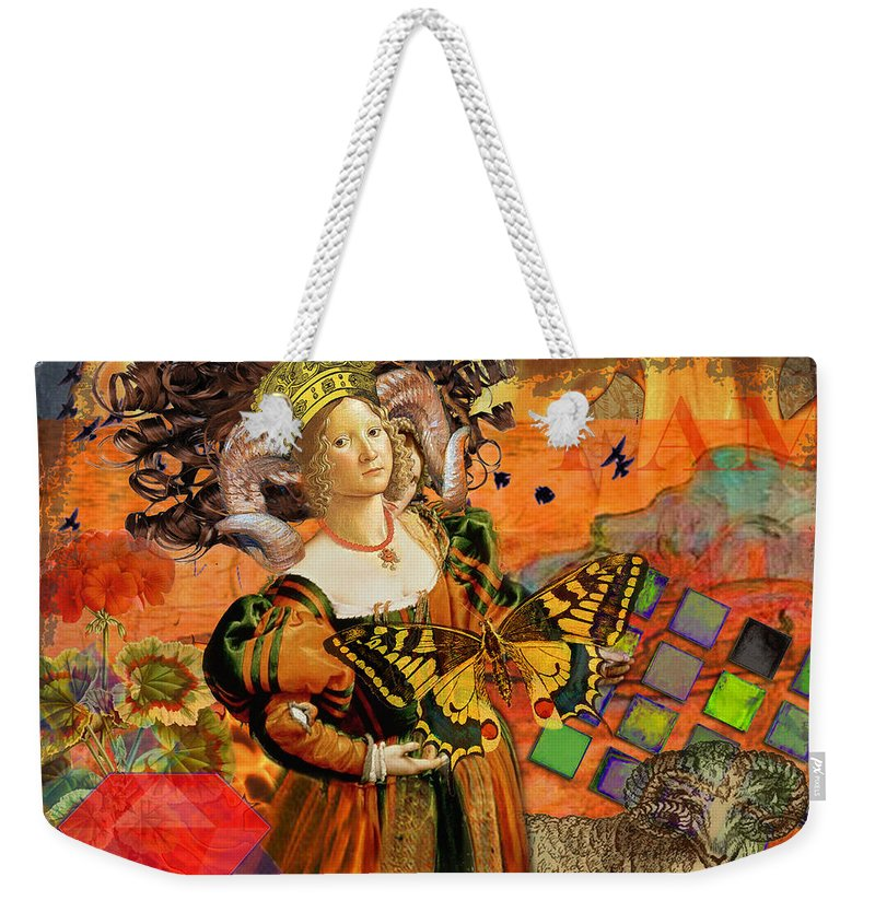 Doodlefly Weekender Tote Bag featuring the digital art Vintage Taurus Gothic Whimsical Collage Woman Fantasy by Mary Hubley
