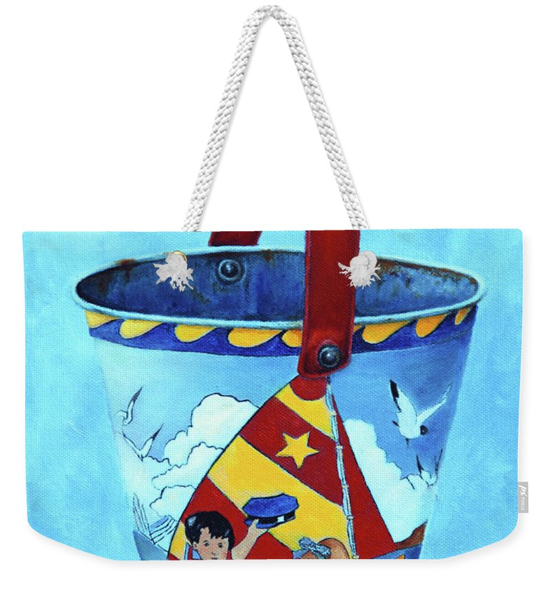 Vintage Weekender Tote Bag featuring the painting Vintage Tin Sand Bucket by Portraits By NC