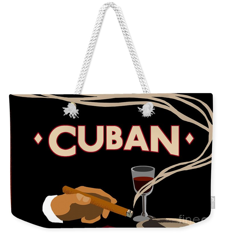 Cigars Weekender Tote Bag featuring the painting Vintage Tobacco Cuban Cigars by Mindy Sommers