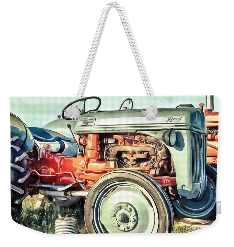 Painting Weekender Tote Bag featuring the painting Vintage Tractors PEI Square by Edward Fielding