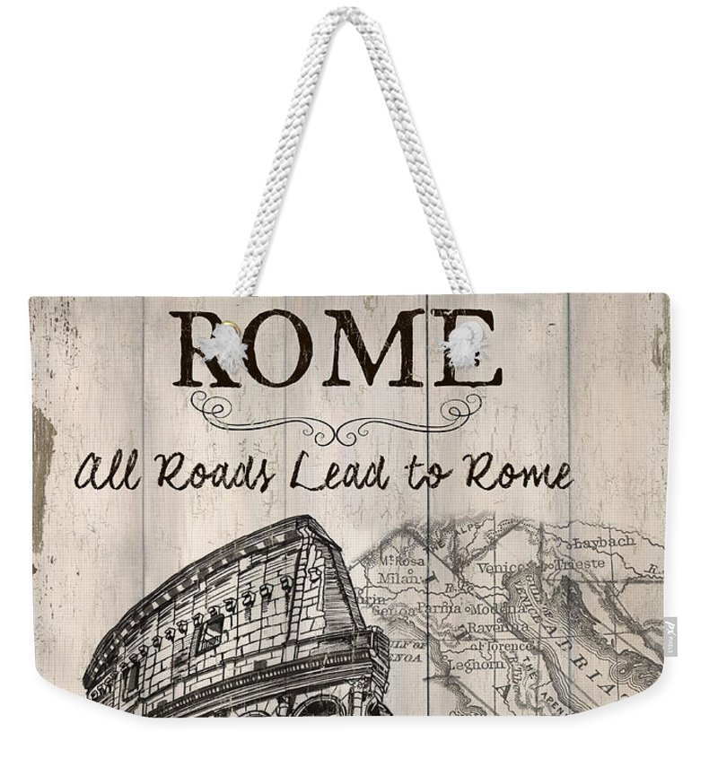 Rome Weekender Tote Bag featuring the painting Vintage Travel Poster by Debbie DeWitt